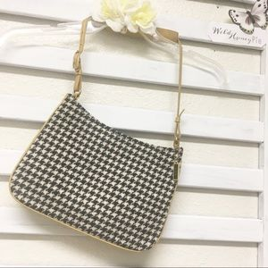 Coach Houndstooth tweed leather bag